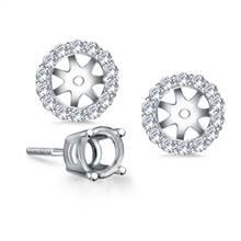 Halo Round Diamond Stud Earring Jacket in 18K White Gold | B2C Jewels
