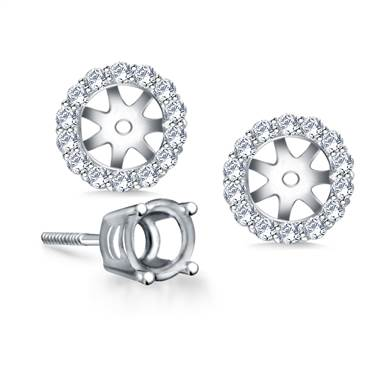 Halo Round Diamond Stud Earring Jacket In 18k White Gold