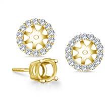 Halo Round Diamond Stud Earring Jacket in 18K Yellow Gold | B2C Jewels