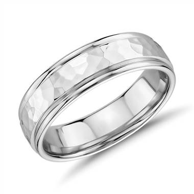 """Hammered Inlay Wedding Band in 14k White Gold (6.5mm)"""