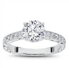 Hand Engraved Tapered Diamond Ring 1/4ct | Adiamor