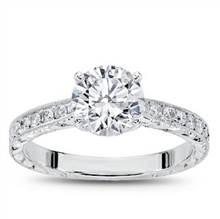 Hand Engraved Tapered Diamond Ring 1/4ct | Adiamor