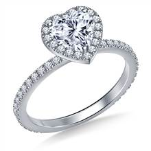 Heart Halo Engagement Ring in 14K White Gold   B2C Jewels
