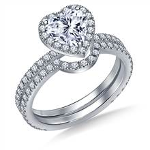 Heart Halo Engagement Ring with Matching Band in 18K White Gold | B2C Jewels