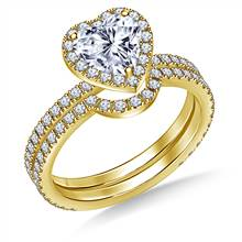 Heart Halo Engagement Ring with Matching Band in 18K Yellow Gold | B2C Jewels