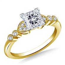 Heart Shaped Diamond Accent Engagement Ring in 14K Yellow Gold (1/8 cttw.) | B2C Jewels