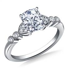 Heart Shaped Diamond Accent Engagement Ring in 18K White Gold (1/8 cttw.) | B2C Jewels