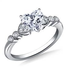 Heart Shaped Diamond Accent Engagement Ring in Platinum (1/8 cttw.) | B2C Jewels