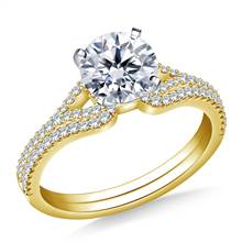 Heart Shaped Diamond Engagement Ring with Matching Band in 14K Yellow Gold (3/8 cttw.) | B2C Jewels