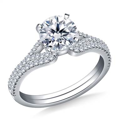 Heart Shaped Diamond Engagement Ring with Matching Band in 18K White Gold (3/8 cttw.)