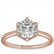 Hexagon Halo Solitaire Diamond Engagement Ring in 14k Rose Gold | Blue Nile
