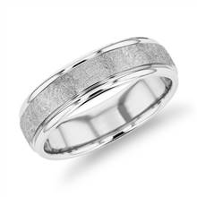 Ice-Textured Inlay Wedding Band in 14k White Gold (6mm)   Blue Nile