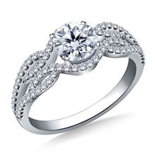 Infinity Diamond Accent Engagement Ring in 18K White Gold | B2C Jewels