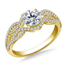 Infinity Diamond Accent Engagement Ring in 18K Yellow Gold | B2C Jewels
