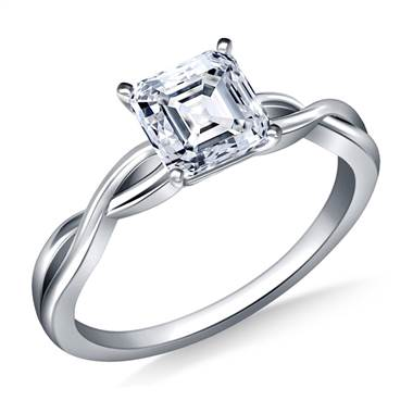 Infinity Knot Solitaire Engagement Ring in 18K White Gold (3.0 mm)