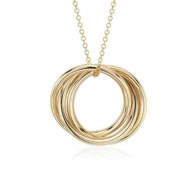"""Infinity Rings Pendant in 14k Yellow Gold """
