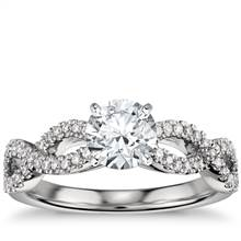 Infinity Twist Micropave Diamond Engagement Ring in Platinum (1/4 ct. tw.) | Blue Nile