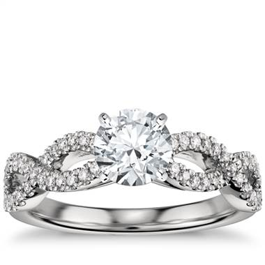 Infinity Twist Micropave Diamond Engagement Ring in Platinum (1/4 ct. tw.)