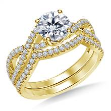 Infinity Twist Split Shank Diamond Ring with Matching Band in 14K Yellow Gold | B2C Jewels