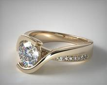 Intertwined Bypass Tension Pave Engagement Ring in 18K Yellow Gold 4.3mm Width Band (Setting Price) | James Allen