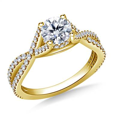 Intertwined Diamond Accent Engagement Ring in 14K Yellow Gold