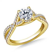 Intertwined Diamond Accent Engagement Ring in 18K Yellow Gold | B2C Jewels