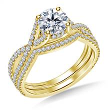 Intertwined Diamond Accent Ring with Matching Band in 18K Yellow Gold | B2C Jewels