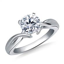 Intertwined Solitaire Diamond Engagement Ring in 14K White Gold (3.2 mm)   B2C Jewels