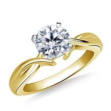 Intertwined Solitaire Diamond Engagement Ring in 14K Yellow Gold (3.2 mm)   B2C Jewels