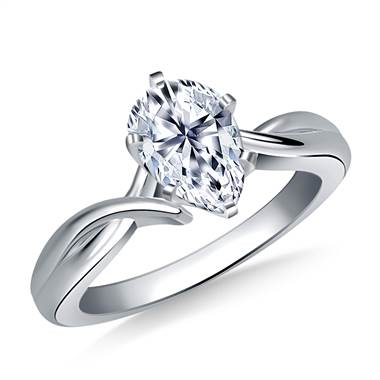 Intertwined Solitaire Diamond Engagement Ring in Platinum (3.2 mm)