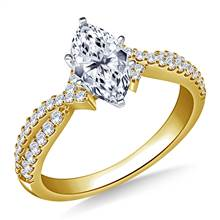 Interwined Diamond Accent Engagement Ring in 14K Yellow Gold (1/3 cttw.) | B2C Jewels