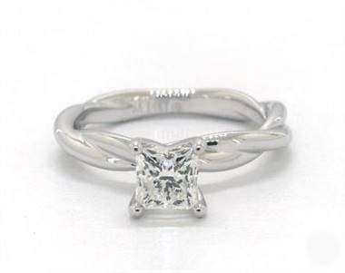 Interwoven Rope Solitaire Engagement Ring in Platinum 4mm Width Band (Setting Price)