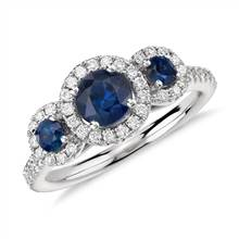 Isola Sapphire and Diamond Halo Three Stone Ring in 14k White Gold (5mm) | Blue Nile