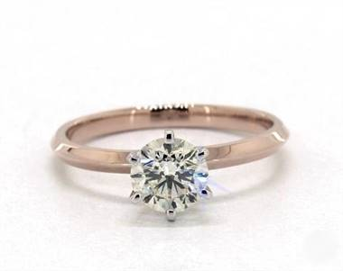 Knife Edge Six Prong Solitaire Engagement Ring in 14K Rose Gold 2mm Width Band (Setting Price)