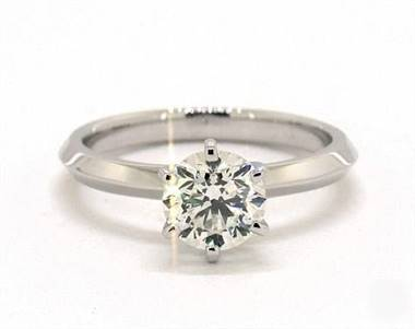 Knife Edge Six Prong Solitaire Engagement Ring in Platinum 2mm Width Band (Setting Price)