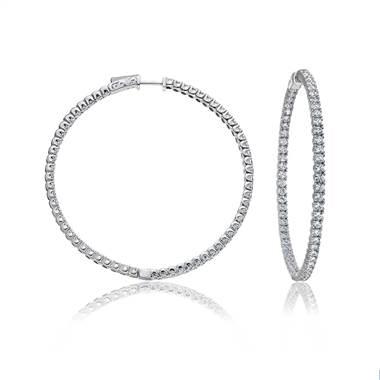 Large Inside Outside Diamond Hoop Earrings In 14k White Gold
