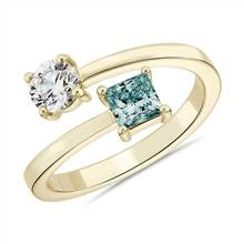 """LIGHTBOX Lab-Grown Blue Diamond Round & Princess Bypass Ring in 14k Yellow Gold (1 ct. tw.)"" 