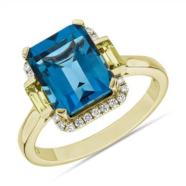 """London Blue Topaz and Peridot Octagon Ring in 14k Yellow Gold"""