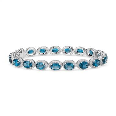 London Blue Topaz and White Topaz Halo Bracelet in Sterling Silver (7x5mm)