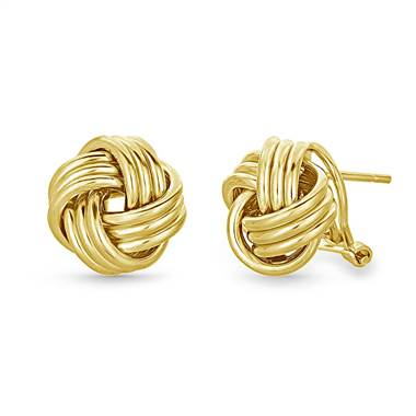 Love Knot Stud Earrings with Omega Back in 14K Yellow Gold