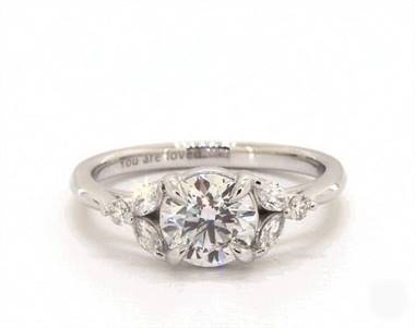 Lovely Marquise Side-Stone Engagement Ring in 14K White Gold 2mm Width Band (Setting Price)