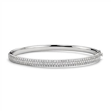 """Lucille Diamond Rollover Bangle Bracelet in 18k White Gold (3.1 ct. tw.)"""