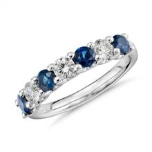 """Luna Seven Stone Sapphire and Diamond Ring in Platinum"" | Blue Nile"
