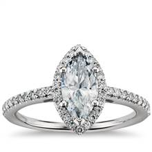 Marquise Cut Halo Diamond Engagement Ring in 14k White Gold | Blue Nile