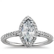 Marquise Cut Halo Diamond Engagement Ring in Platinum   Blue Nile