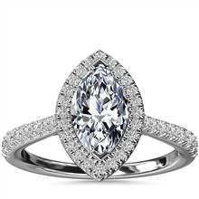 Marquise Diamond Bridge Halo Diamond Engagement Ring in 14k White Gold (1/3 ct. tw.) | Blue Nile