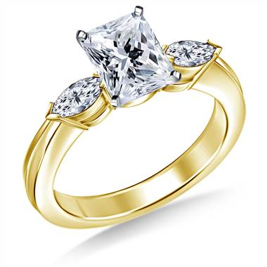 Marquise Diamond Ring in 18K Yellow Gold (1/2 cttw)