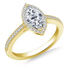 Marquise Halo Diamond Engagement Ring in 14K Yellow Gold   B2C Jewels