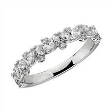 Marquise & Round Cluster Diamond Wedding Ring in 14k White Gold (1/2 ct. tw.) | Blue Nile