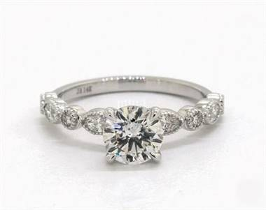 Marquise & Round Diamond Milrain Engagement Ring in Platinum 4mm Width Band (Setting Price)
